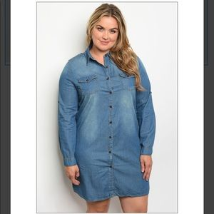 💙Plus Sized Long Sleeve Denim Dress💙